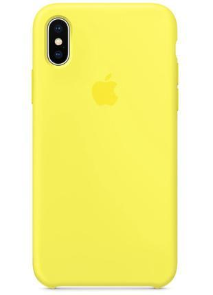 Силиконовый чехол для iPhone X/XS, цвет «лимонный»