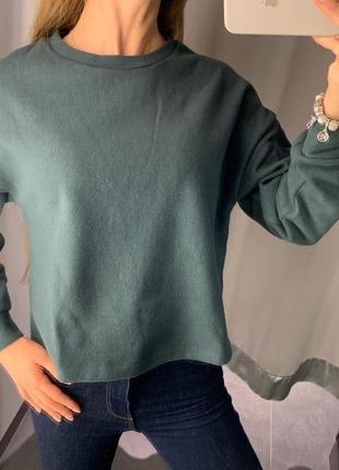 Флисовый зелёный свитшот кофта amisu есть размеры