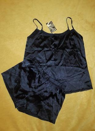 Шелковая пижама, комплект майка и шортики