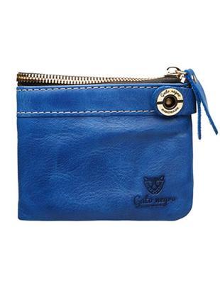 Мужской кожаный кошелек gato negro ручной работы синий