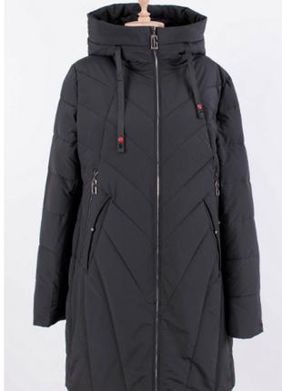Зимняя куртка курточка зима с капюшоном длинная удлиненная удл...