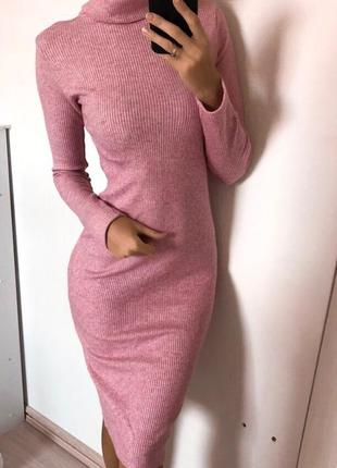 Платье голльф теплое трикотаж-рубчик
