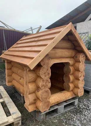 Будка для собак зруб дерев'яний