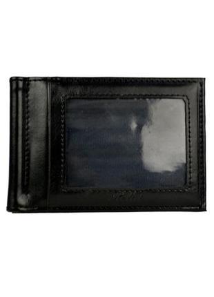 Мужской зажим для денег helai на магните черного цвета кожзам