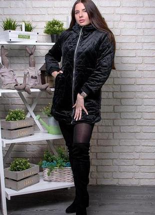 Стильное велюровое пальто на синтепоне весеннее осеннее стеган...