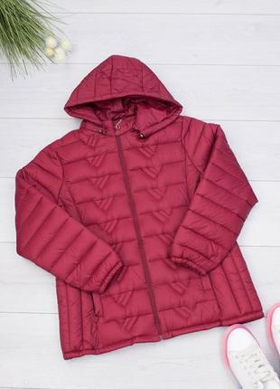 Женская бордовая куртка с капюшоном осенняя весенняя красивая ...