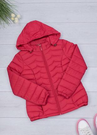 Женская красная куртка с капюшоном осенняя весенняя красивая ж...