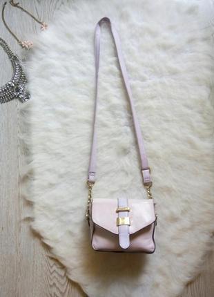 Маленькая сумка кросс боди на длинном ремешке клатч розовая фи...
