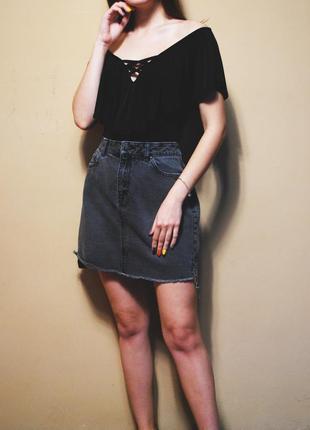 Асимметричная джинсовая юбка
