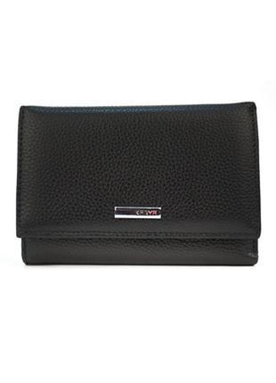 Маленький женский кожаный кошелек karya чорный турция