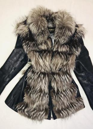 Куртка жилетка с мехом, трансформер,  кожа и чернобурка. натур...