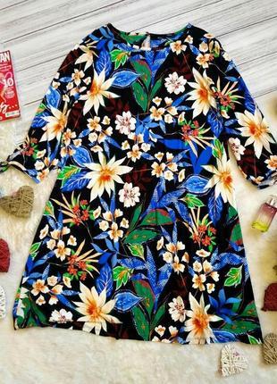 Красивое вискозное платье свободного в цветы размер 16 (46-48)