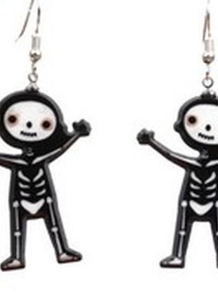 Серьги хэллоуин, хеловин, хеловин, сережки скелет, скелетик