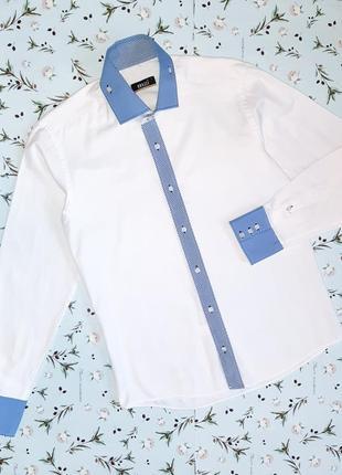 🎁1+1=3 крутая фирменная белая мужская рубашка brazzi, размер 4...