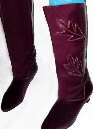 Натуральные кожаные, бордовые сапоги с широким голенищем