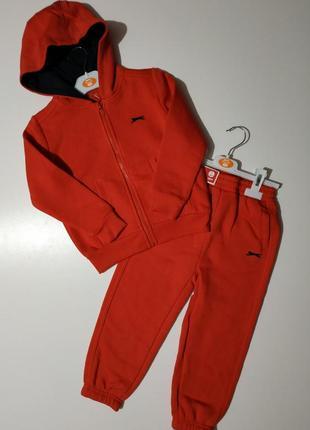 Теплый фирменный флисовый спортивный костюм slazenger на замочке