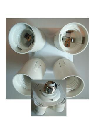 Переходник адаптер с одной лампы на 4 , патрон Е27