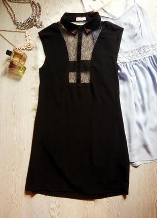 Черное платье футляр с воротником вставками гипюра сетки на вы...
