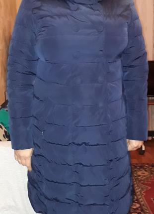 Болоньевое пальто (Женское) Цвет темно-синий