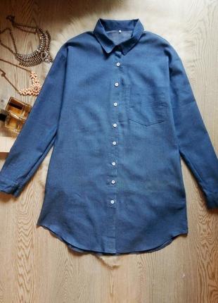 Синяя длинная джинсовая рубашка платье с карманами воротником ...