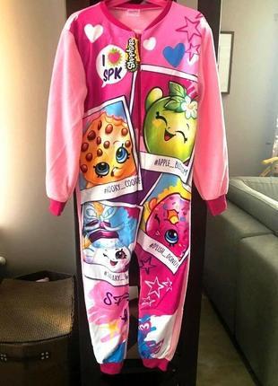 Пижама флисовая сдельная шопкинс, теплый слип, поддева для дев...