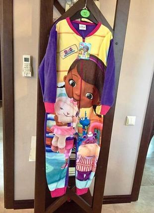 Пижама флисовая сдельная доктор плюшева, теплый слип для девочки