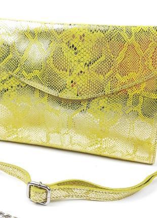 Кожаная желтая сумка из натуральной кожи