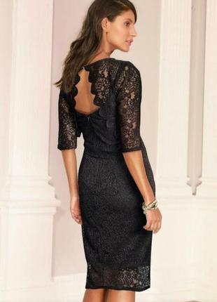 Next нарядное вечернее черное кружевное платье футляр миди вып...