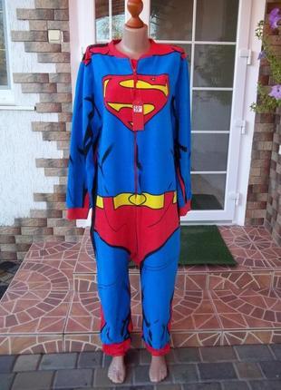 50/52 р superman фирменный флисовый комбинезон пижама кигуруми...