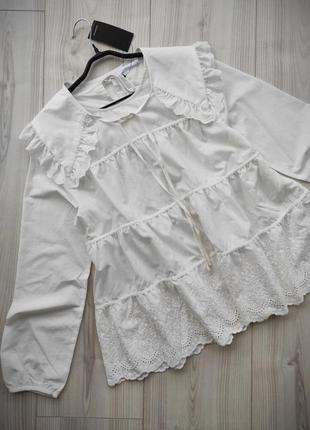 Блуза с прошвой baby doll от reserved с сьемным воротником, бл...