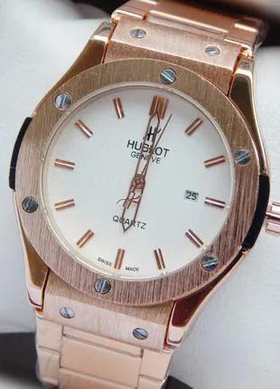 Мужские наручные часы Hublot big bang золото с белым циферблатом