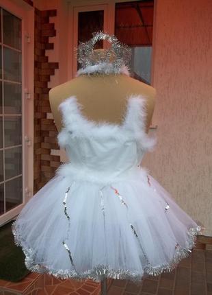 6-7лет фабричное новогоднее  карнавальное платье лебяжий пух