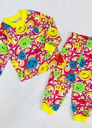 """Пижама детская """"смайлик"""" малинового цвета"""