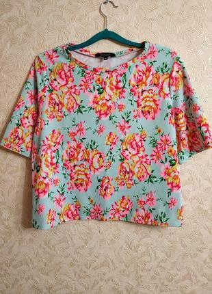 Плотная футболка в цветы, блуза new look