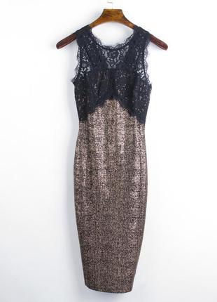 Нарядное платье миди, обтягивающее платье ниже колен, золотое ...