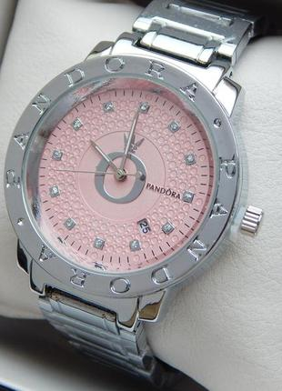 Женские кварцевые наручные часы в серебре с розовым циферблатом