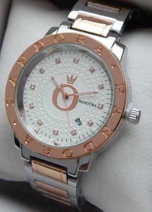 Женские кварцевые наручные часы серебро-розовое золото, белый ...