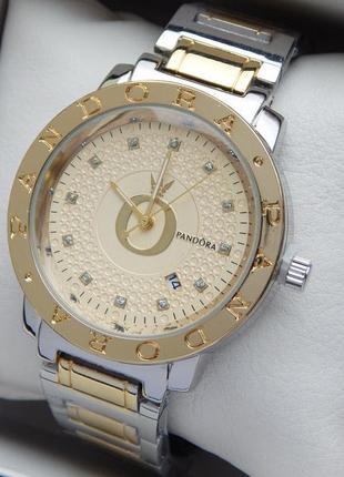 Женские кварцевые наручные часы серебро-золото, золотой циферблат