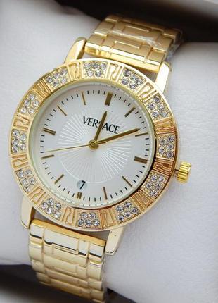 Женские кварцевые наручные часы золотого цвета с камушками, бе...