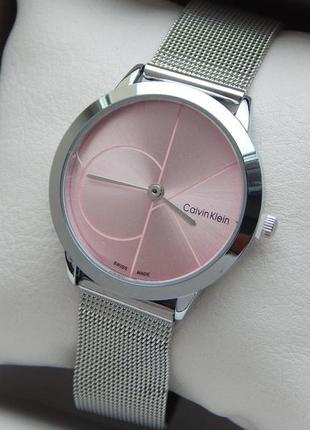 Часы Calvin Klein женские на сетчатом браслете, розовый циферблат