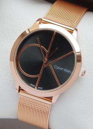 Часы Calvin Klein женские на сетчатом браслете золотого цвета