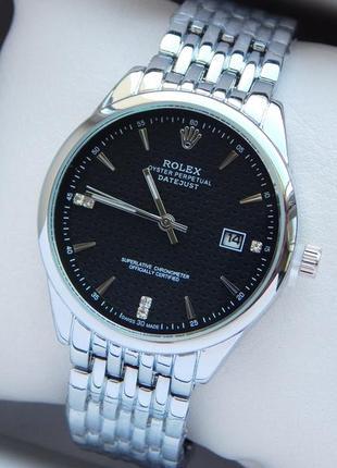 Женские кварцевые наручные часы серебро с черным циферблатом, ...