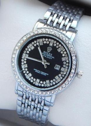 Женские наручные часы серебро с черным циферблатом, стразы, от...