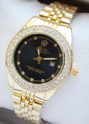 Женские наручные часы золотые с черным циферблатом, два ряда с...