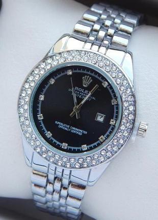 Женские наручные часы серебряные с черным циферблатом, два ряд...