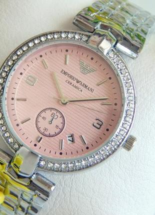 Классные женские наручные часы серебристые с розовым циферблатом