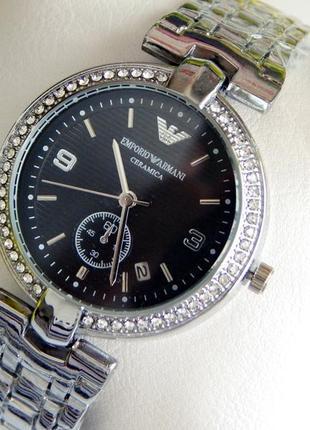 Красивые женские наручные часы серебристые с черным циферблатом