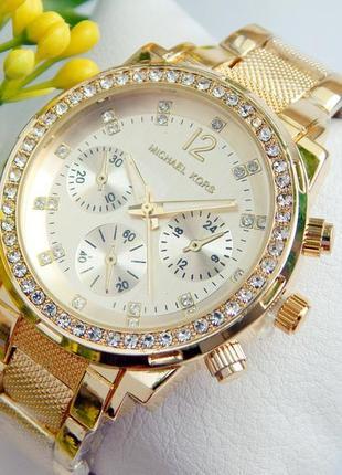 Женские золотистые часы Michael Kors с рифленым браслетом