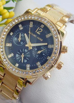 Женские часы с рифленым браслетом золотые с черным циферблатом