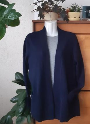 Кашемировый кардиган-кофта с карманчиками, глубокий синий цвет...